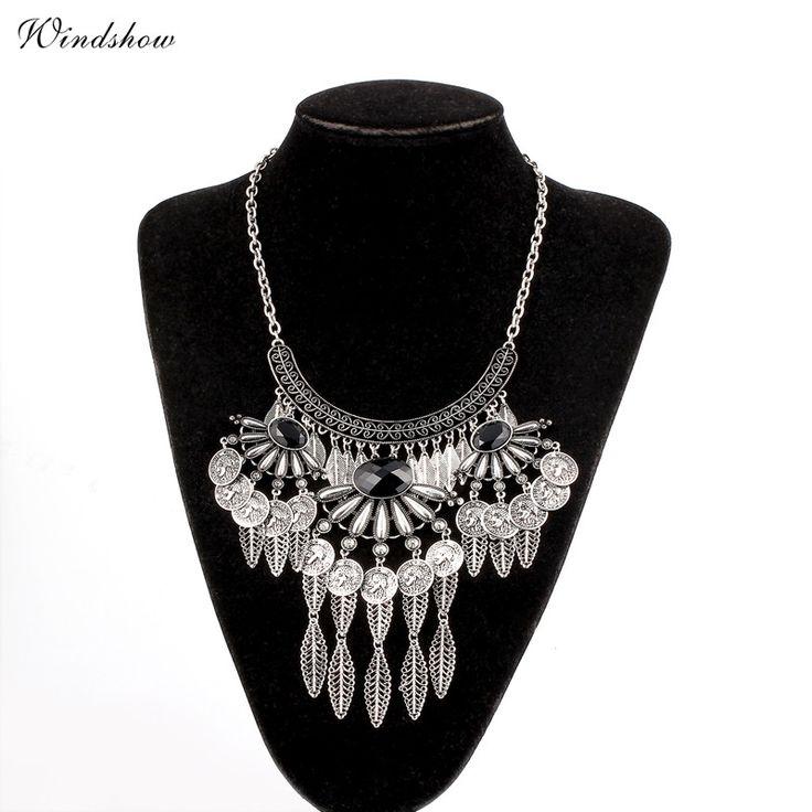 Bohemia Women Big Necklaces Fashion Coins Leaf Vintage Metal Choker Statement Necklaces & Pendants Collares Jewelry