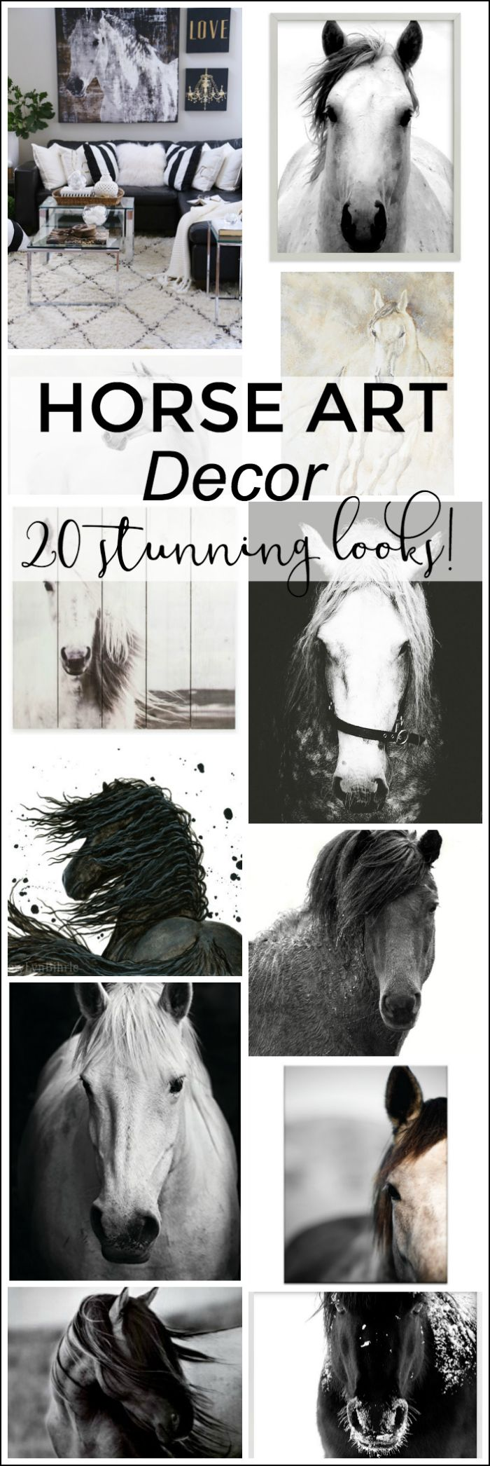 Love Horses? Me too!! Everyone asks me where I bought the horse art that hangs in my family room. See where I bought it and see 20 gorgeous horse art looks for your home!Horse art is a big design trend right now - decorate your home with your passion for these breathtaking animals. See black and white horse photography, neutral prints, modern and classic art prints... all with an equine vibe.