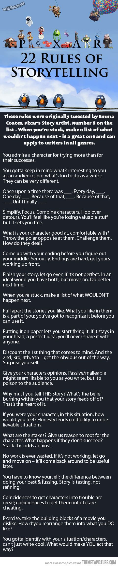 Pixar's Rules Of Storytelling. Helpful, maybe.