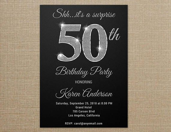 Surprise Birthday Invitation For Women 50th Her ANY AGE Adult