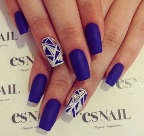 Royal purple/blue matte nails with geometric metallic silver accent