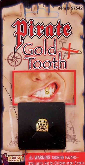 Pirate Skull Gold Tooth Cap - This gold cap for your teeth will make your pirate costume one for the treasure chest. #pirate #gold #tooth #yyc #costume