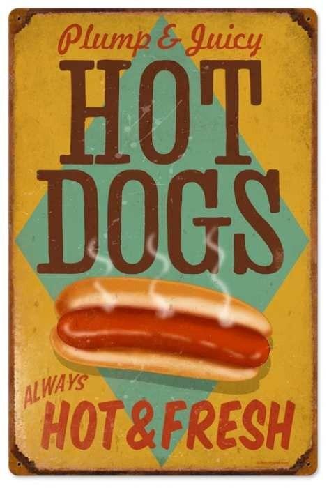 JackandFriends.com - Retro Hot Dogs Tin Sign 3, $58.97 Auf jackandfriends.com