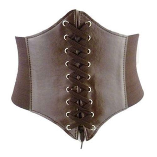 Ladies Super Wide Faux Leather Tassels Elastic Stretchy Corset Waistband Belt