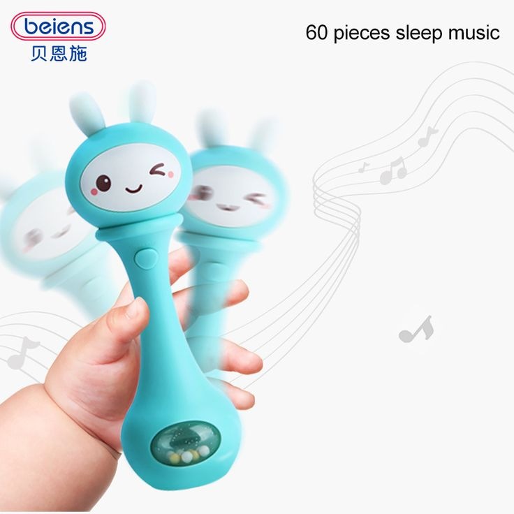 Beiens Baby Hand Bells 4 Color Toys Puzzle music and Light Shaking Rattles 6-12 Months Sound and light rhythm induction
