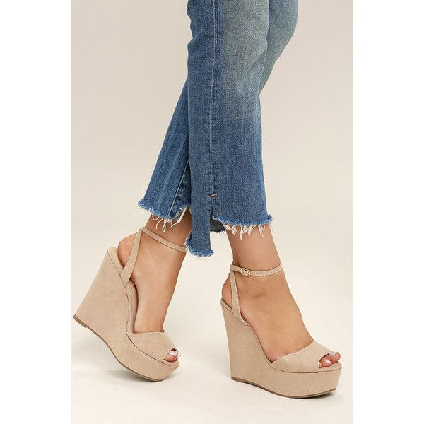 Nahele Nude Suede Ankle Strap Wedges ($36) ❤ liked on Polyvore featuring shoes, sandals, beige, platform wedge sandals, suede wedge sandals, platform sandals, ankle wrap sandals and nude wedge sandal