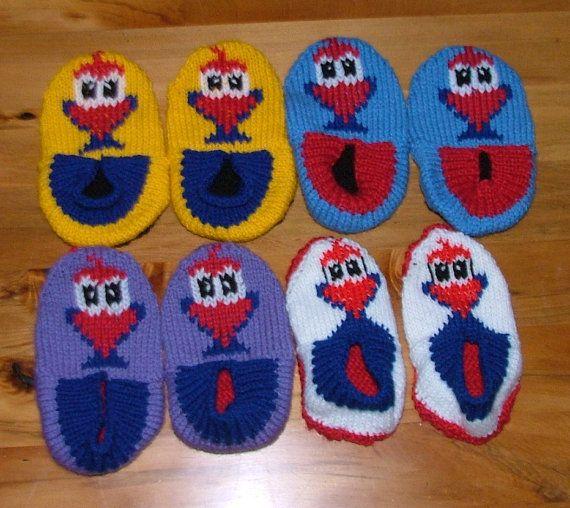 Pukeko Slippers for Children Knitting Pattern. by KraftyKiwis