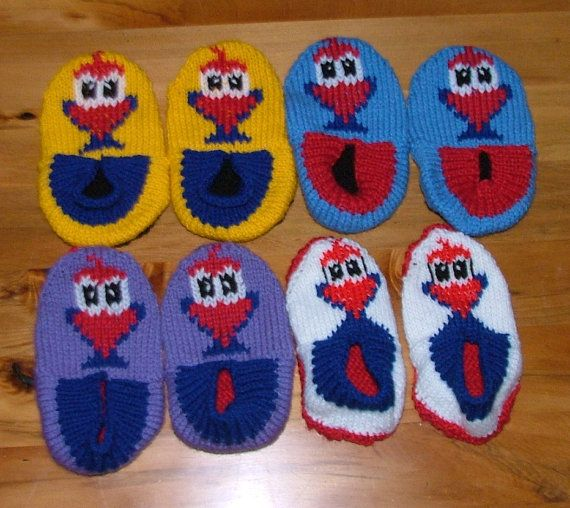 Pukeko Slippers for Children Knitting Pattern. by KraftyKiwis