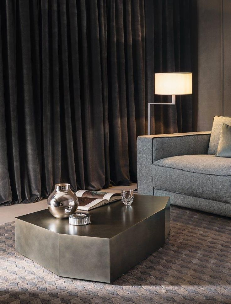 """ROCCO the new low table design Marco Boga for Casamilano home collection, in the new """"peltro"""" finish."""