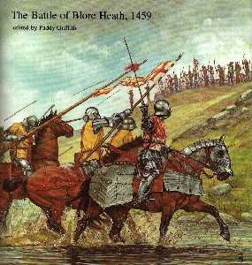 The Battle of Blore Heath - Since the battle of Saint Albans,Queen Margaret did all she could to end the Yorkist Claim. Richard, duke of York decided to act before his forces lost momentum. In an attempt to concentrate all the Yorkist army, he led his force to a concentration point. On the way they were intercepted by Lancastrians under Lord Audley who had been ordered to attack the Yorkist army by Queen Margaret. The Yorkist won a major victory.  (Battle of Blore Heath -1459, 1912)