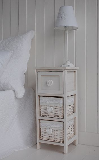 Narrow Bedside Table With Drawers 25cm. Bedroom Furniture