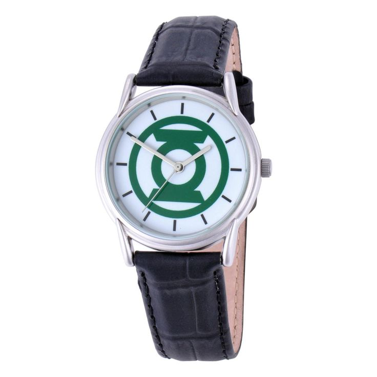 Green Lantern Logo Watch from Warner Bros.: This Green Lantern logo leather band watch features a zinc alloy… #Movies #Films #DVD Video