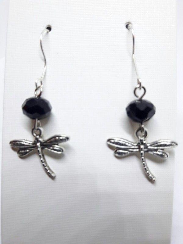 Schöne Libellen Ohrhänger Ohrringe in silber mit schwarzen Kristallen NEU
