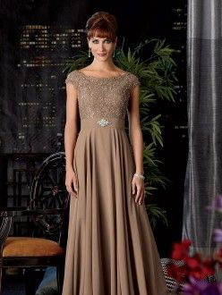 A-Line/Princess Short Sleeves Floor-Length Chiffon Scoop Mother of the Bride Dresses