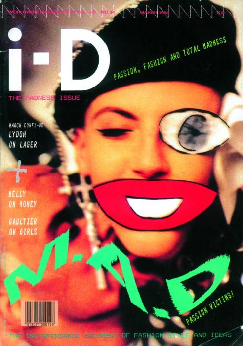Another design from the iconic I-D magazine, using the model on the page to make important winking motion, it's stood out more using overlaid imagery to make it look interesting.