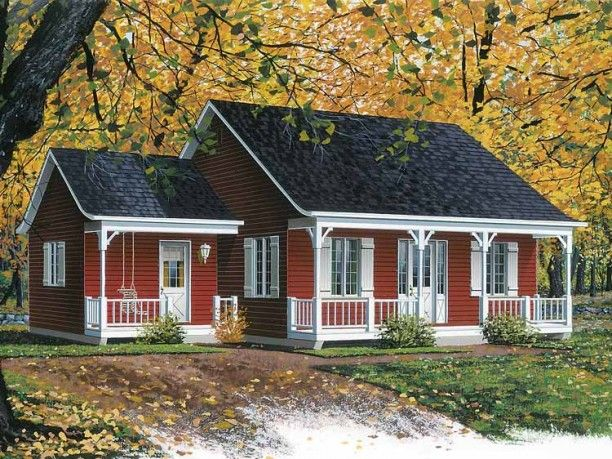 This is the perfect little house!  I love the color, the porch, everything!