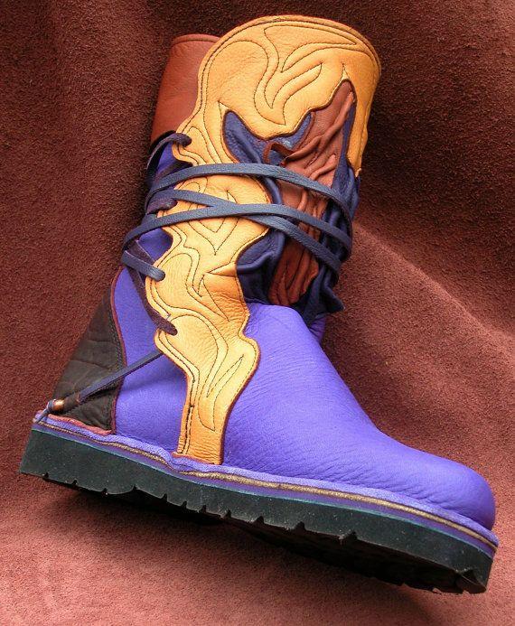 Botas de cuero hechas a mano, calzado - cuero Toro ocultar y piel de venado, Tan marrón negro púrpura, por encargo o stock 5 de tamaño, 6, 7, 8, 9, 10