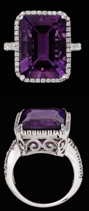 Ring, Amethyst, 13.48ct & Brilliant cut Diamonds, 0.58ct18k White Gold.