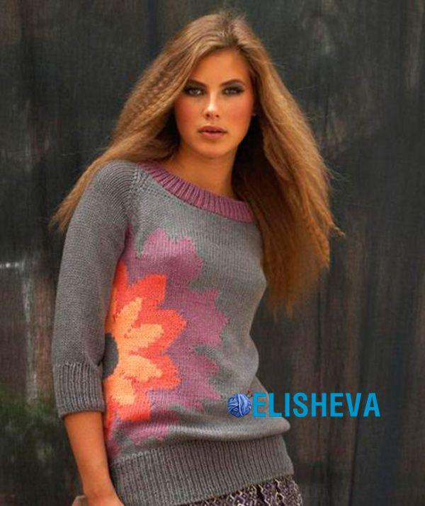 Красивый пуловер реглан + интарсия из цветов, вязаный спицами | Блог elisheva.ru