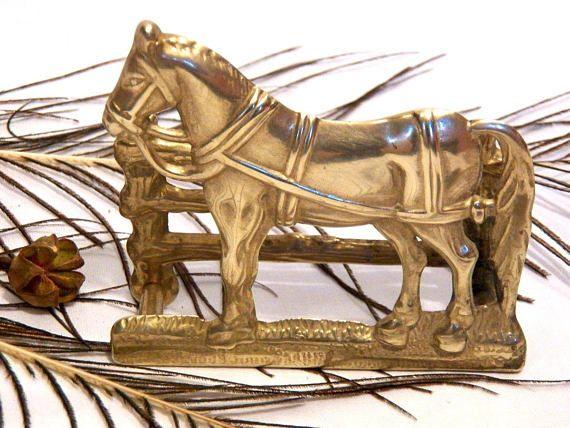 Horse Napkin Holder Vintage, Brass Napkin Holder, Antique Letter Holder, Table Accent Vintage, Antique Napkin Holder, Metal Table Decor