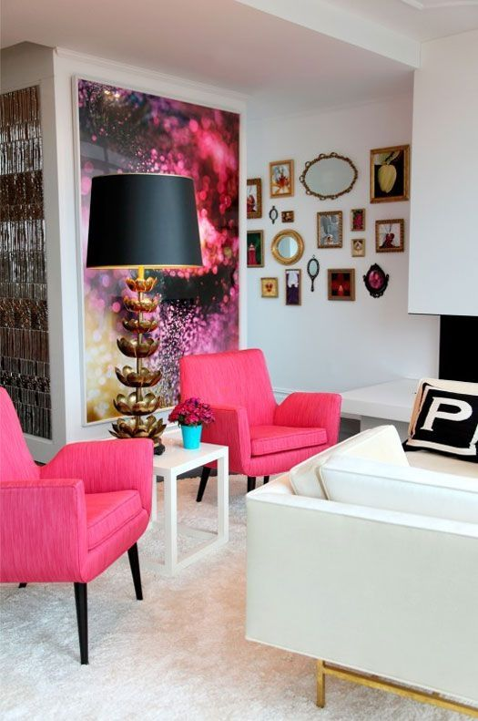 Great living room with pops of pink. home decor and interior decorating ideas. apartment living
