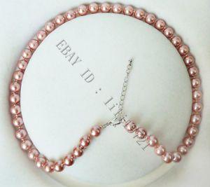 8 мм AAA розовый юг морские раковины жемчужное ожерелье 18  18 К позолоченные кристалл слово женщины ювелирные изделия бесплатная доставка