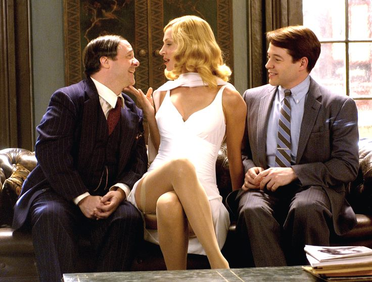 """The Producers"" movie still, 2005.  L to R: Nathan Lane, Uma Thurman, Matthew Broderick."