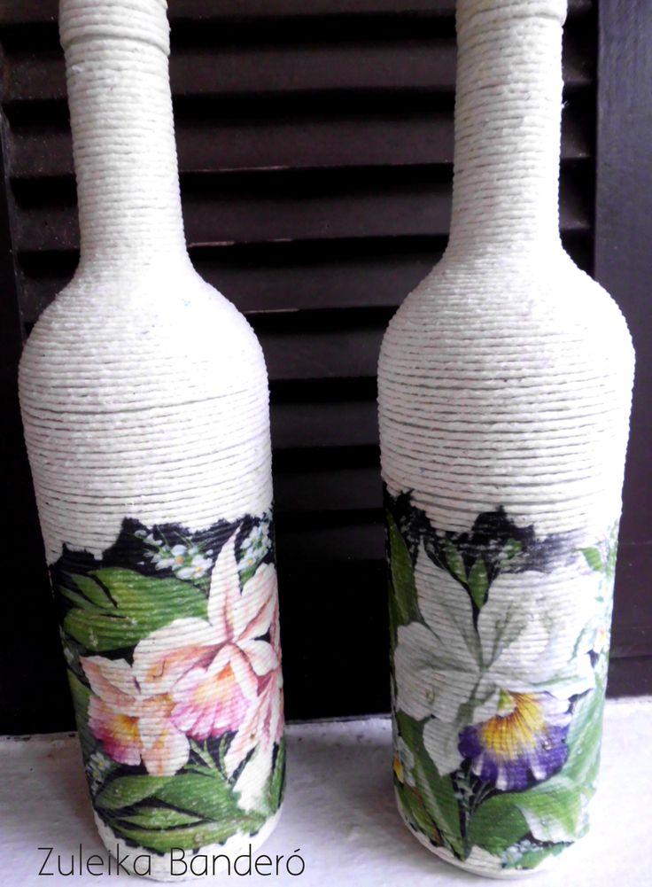 ber ideen zu dekorierte flaschen auf pinterest ver nderte flaschen decoupage und flasche. Black Bedroom Furniture Sets. Home Design Ideas