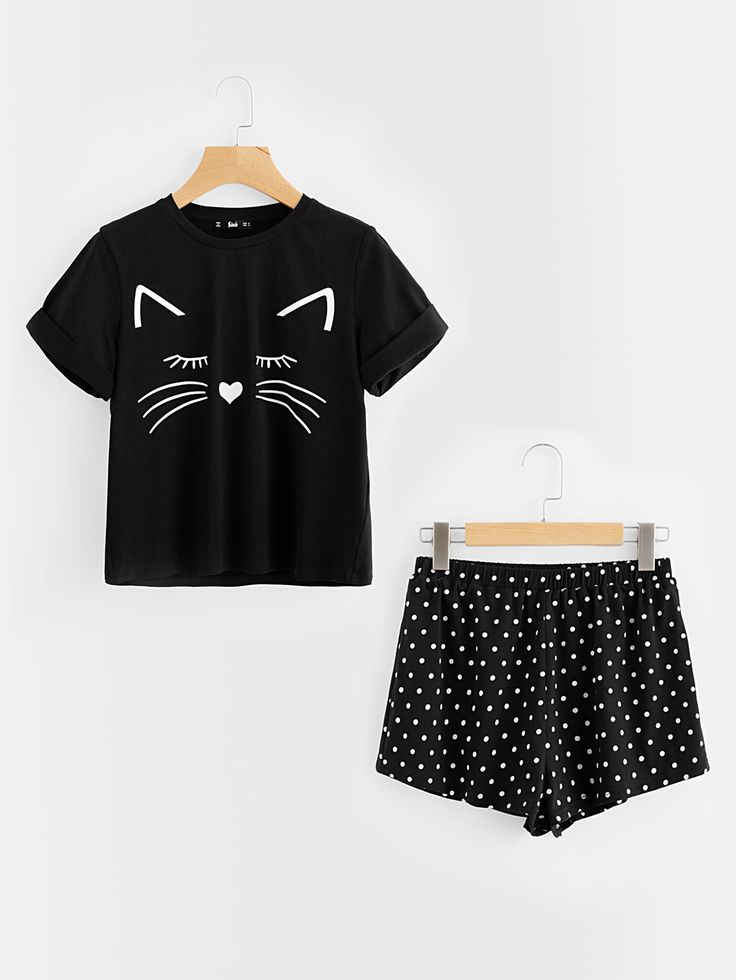 Cat+Print+Cuffed+Top+And+Polka+Dot+Shorts+Pajama+Set+21.00