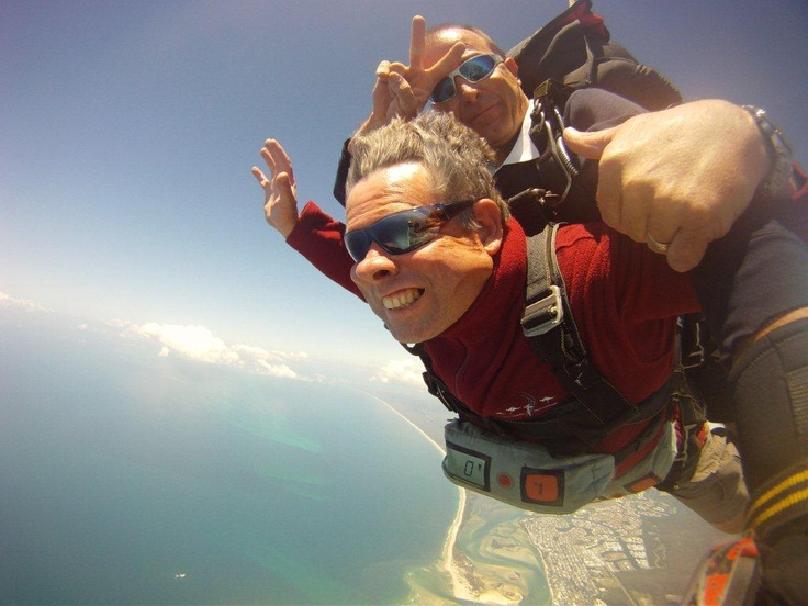 Garry Holmes at 14,000ft with Sunshine Coast Skydivers Caloundra.  Received a 'Skydive-in-a-Can' beach tandem skydive Gift Voucher for his 50th Birthday from his wife!