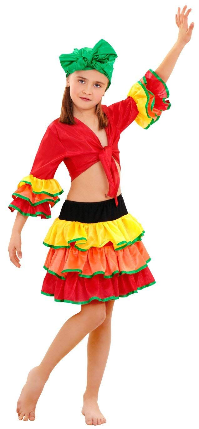 Disfraz de Rumbera Salsa Niña -- Disponible en varias tallas -- 3-4 -- 5-6  -- 7-9 -- 10-12 -- Amazon 6b57f5f7b4a