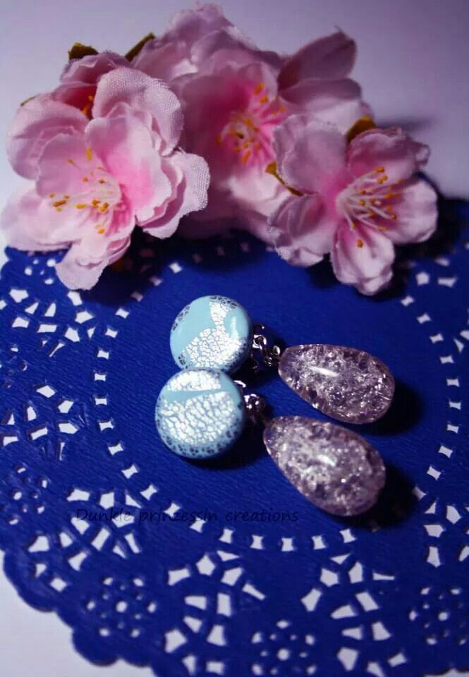 Earrings with Silver leaf