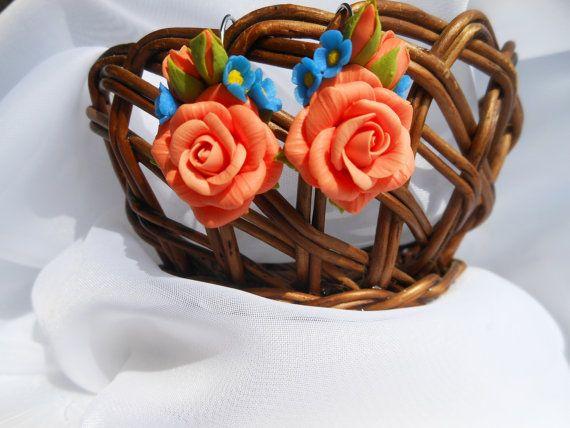 Orecchini peach roses Handmade fatto di argilla polimerica in