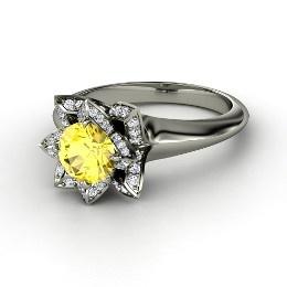 lotus ring round yellow sapphire platinum ring with diamond from gemvara