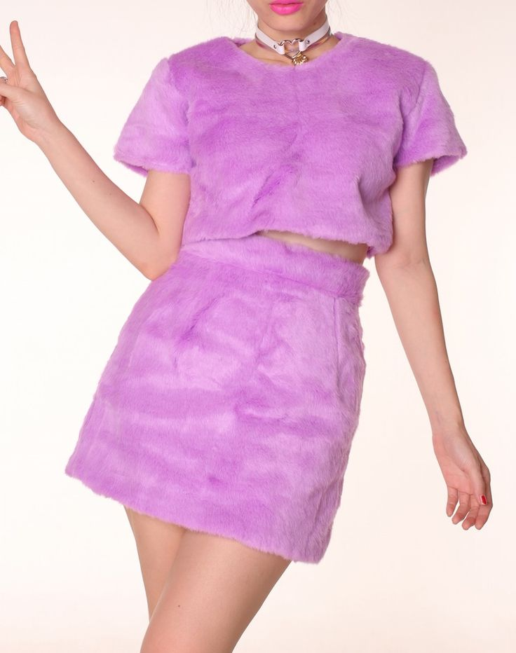 Image of Ready To Post - Gigi Furry 2 Piece Set in Purple