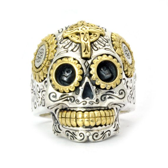 Large Mexican Skull Ring Mens skull ring by SilverPhantomJewelry