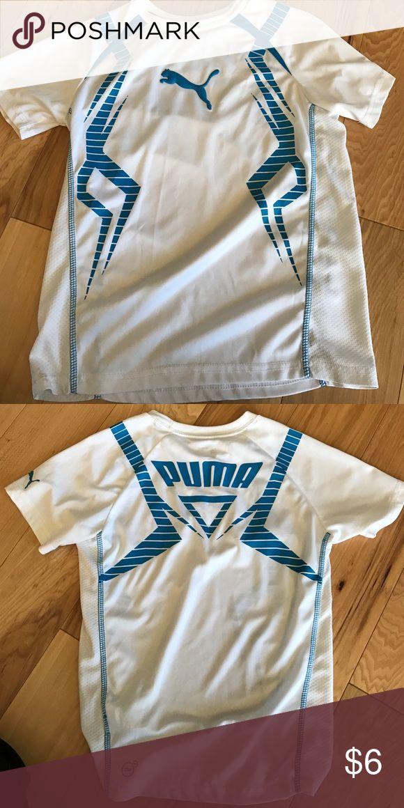 Boys Puma shirt Boys White and blue Puma tshirt.  The white is still bright, looks like it is in new condition. Puma Shirts & Tops Tees - Short Sleeve