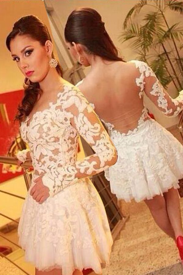 Generous Short A-line Open Back White Lace Homecoming Dress with Appliques