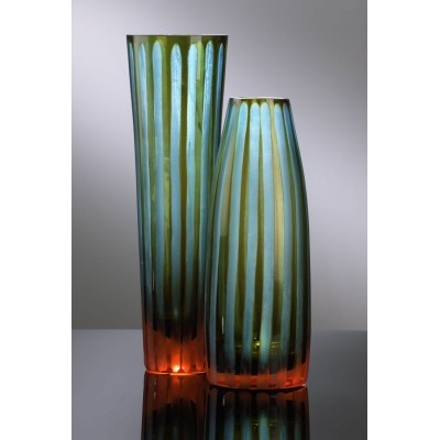 Cyan and Orange Stripe Vases  www.selecthomeaccents.com