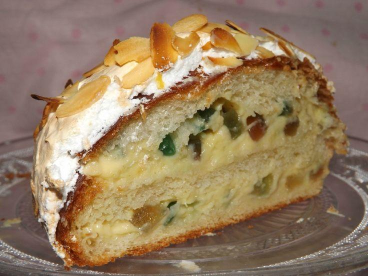 Brioche polonaise à la crème pâtissière aux fruits confits (oeufs, farine, sucre, sel, levure fraîche, beurre, vanille)
