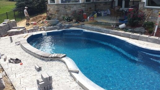 Fiberglass Pool With Brick Coping Subdeck For Pavers And