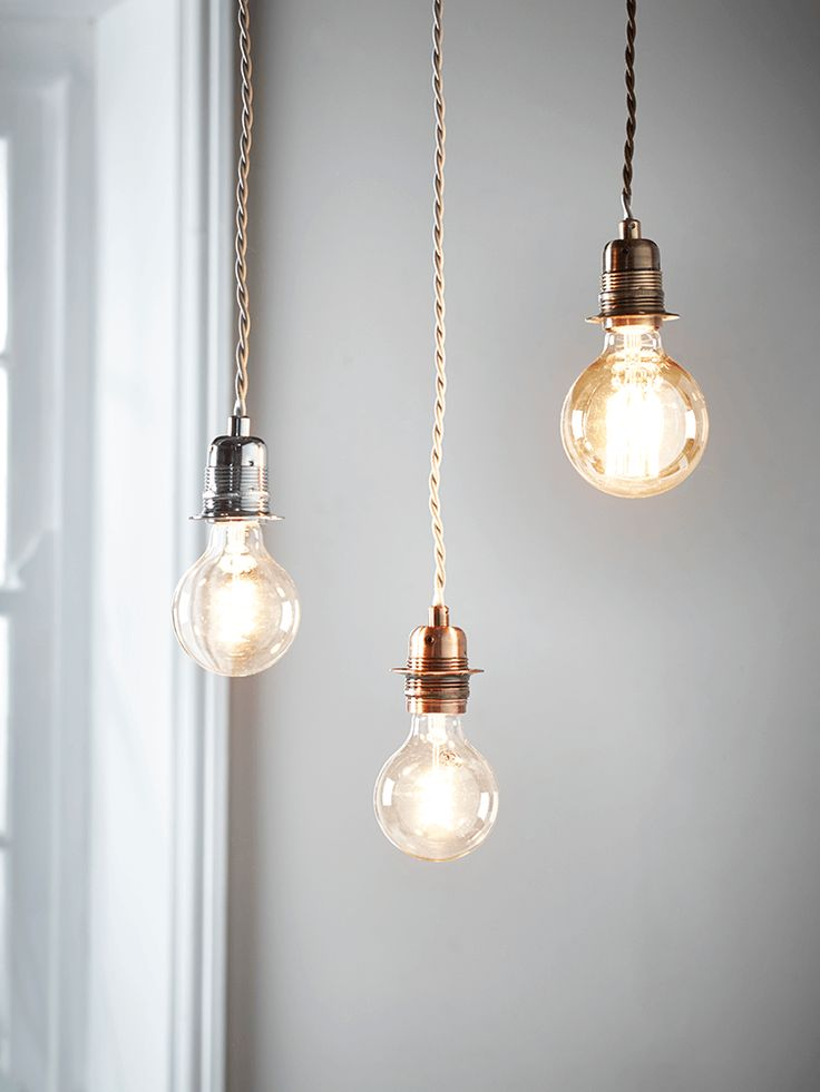 With an antiqued metallic finish and twisted fabric flex, these simple light fittings are the perfect way to bring the industrial trend to your interior, or can easily be fitted with a shade for a softer effect. Available in silver, brass or copper, each with a matching ceiling rose. Pair with a vintage bulb for maximum impact. Click here to view our useful lighting buying guid