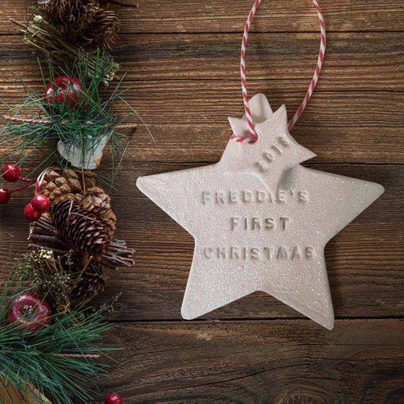 Baby/'s First Christmas Tree Bauble Star Plaque Ornament Engraved Xmas Decoration