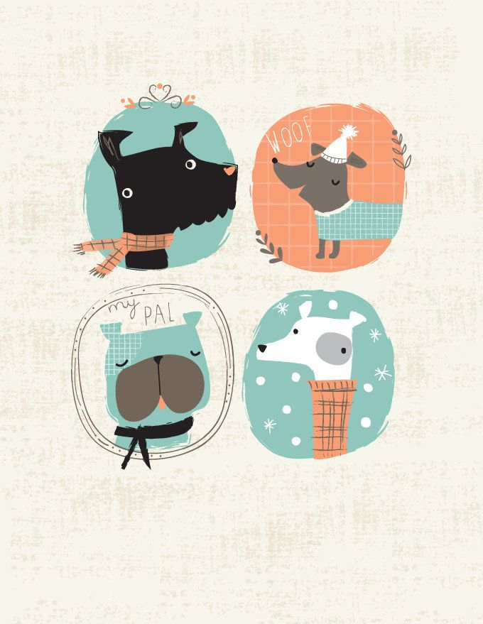 Dog illustration by lizziemackay.com... I could totally create a whole puppy party around this!