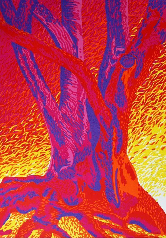 Linocut Art Print, Tree of Love, by Eveline van der Eijk