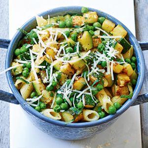 Recept - Penne pesto met groene groenten - Allerhande
