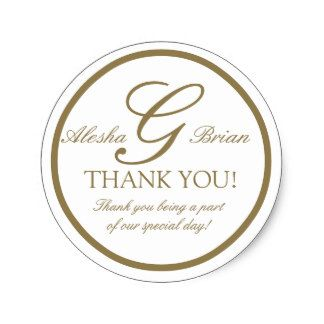 """Elegant Monogram Wedding Favour Thank You Sticker By Elke Clarke ©2009. More designs available at WhiteWhimsicalWeddings.com and WhiteWhimsicalWeddings.blogspot.com """"Customize it"""" with your personal information and use it to seal your wedding invitation envelopes or add to your wedding favors."""