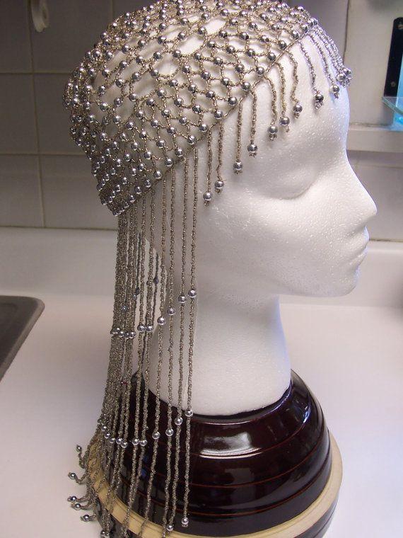 Vintage Beaded Skull Cap Silver Flapper Roaring Twenties ...