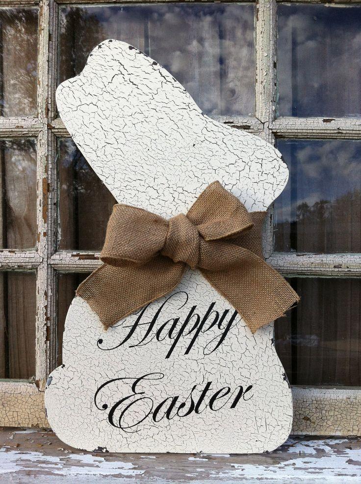 Shabby Chic White Easter Bunny - Wall or Door Easter Decor  Bunny Rabbit - Home Decor - Easter Decorations via Etsy.