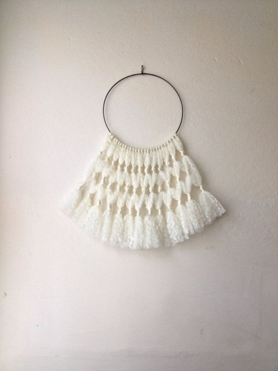 White Wool Hoop Art Wall Hanging on Etsy !